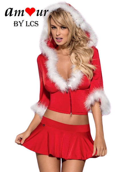 [sexy red christmas costume] - AMOUR Lingerie