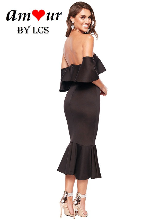 Traffic Stopping Off Shoulder Formal Evening Dress