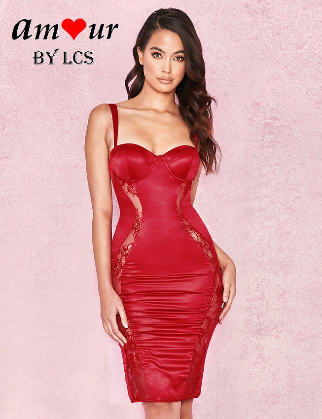 [red faux leather party dress] - AMOUR Lingerie