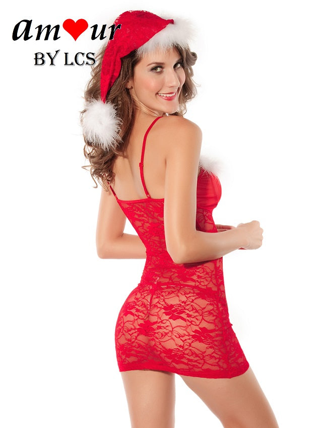 [sheer lace sexy christmas costume] - AMOUR Lingerie