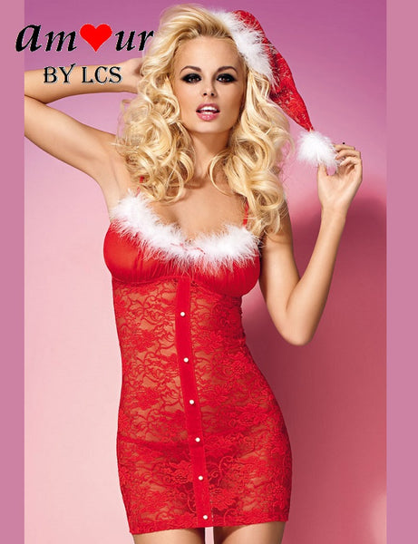 [furry sheer lace xmas chemise] - AMOUR Lingerie