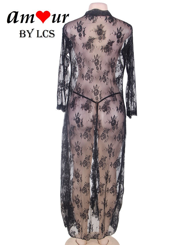 Sexy Sheer Black Lace Tie Front Robe Gown