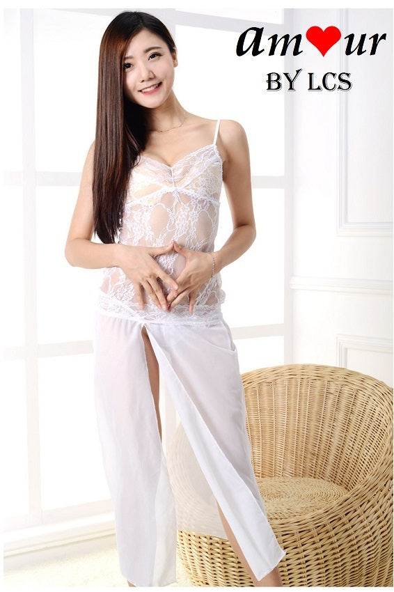 [white lace night dress gown] - AMOUR Lingerie