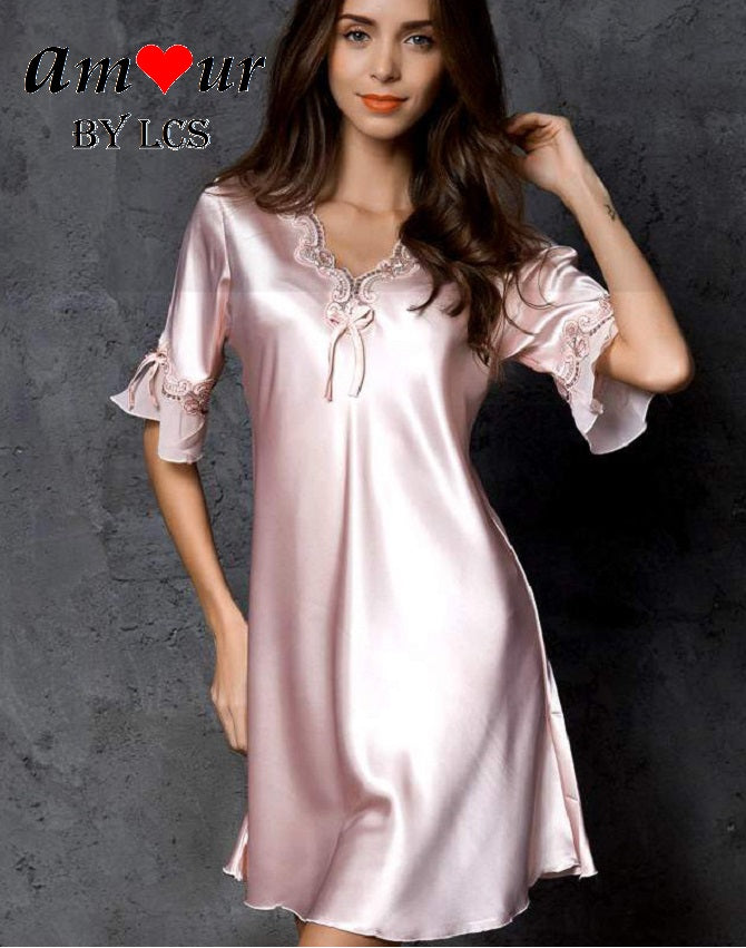 [pink satin pyjamas dress] - AMOUR Lingerie