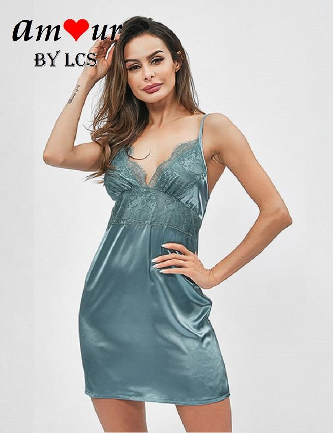 [teal satin night dress] - AMOUR Lingerie