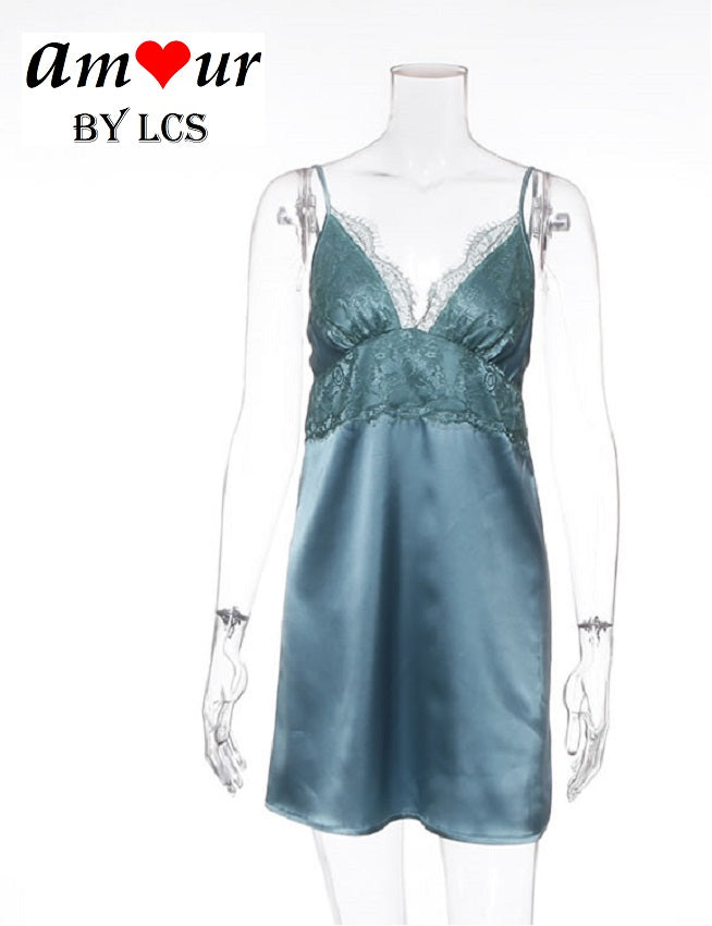 Romantic Teal Green Satin Night Dress