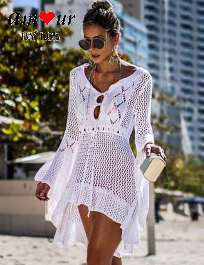 Eye Catching White Crochet Sexy Tulle Dress