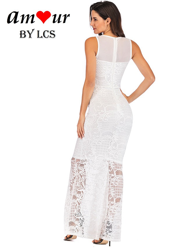 [white guipure lace party gown] - AMOUR Lingerie
