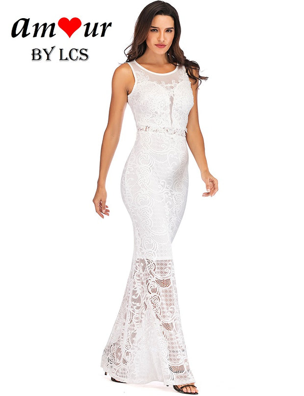 [white guipure lace evening gown] - AMOUR Lingerie
