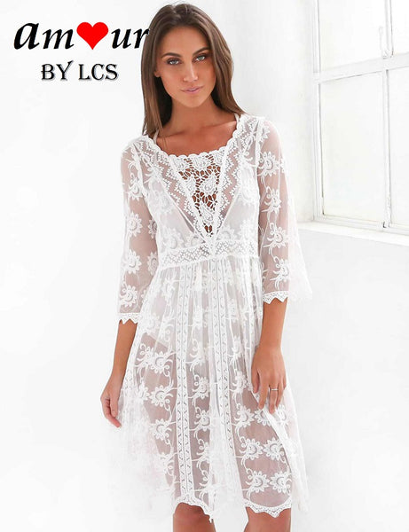 [white lace beach sundress] - AMOUR Lingerie