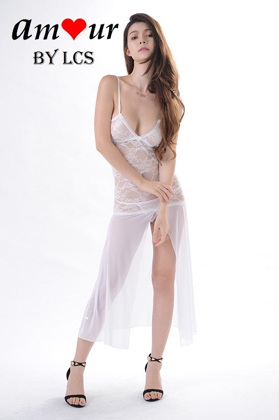 [sexy white lace lingerie gown] - AMOUR Lingerie