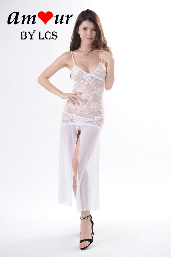 [low cleavage white lace gown] - AMOUR Lingerie