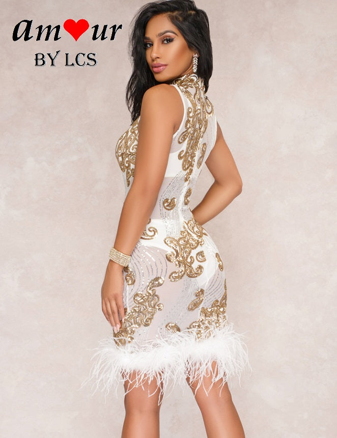 Shimmering Sequin Sheer Furry Clubbing Dress