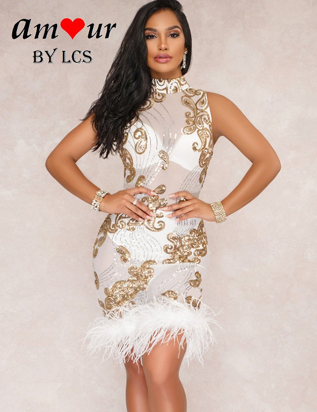white lace glitter dress