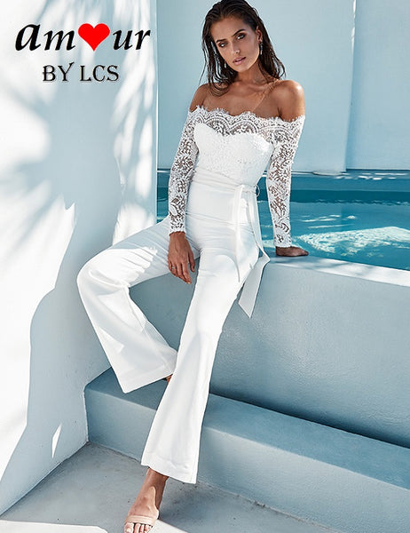 [off shoulder white lace jumpsuit] - AMOUR Lingerie