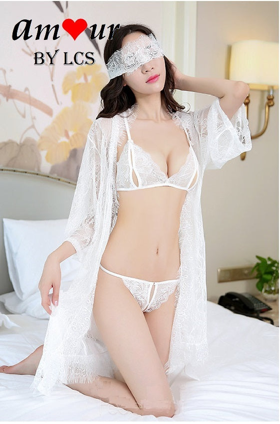 sheer white lace robe lingerie