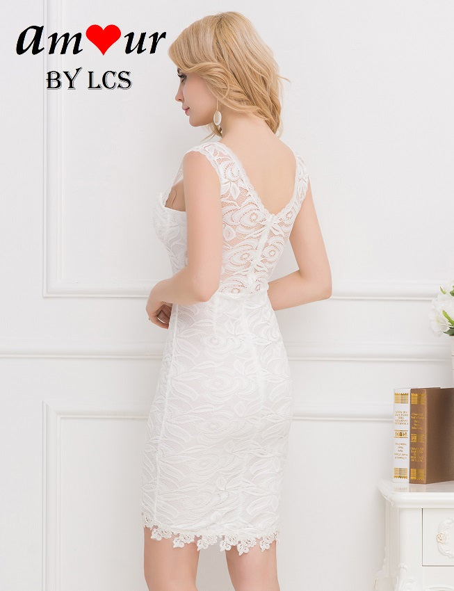 white sheer lace back dress