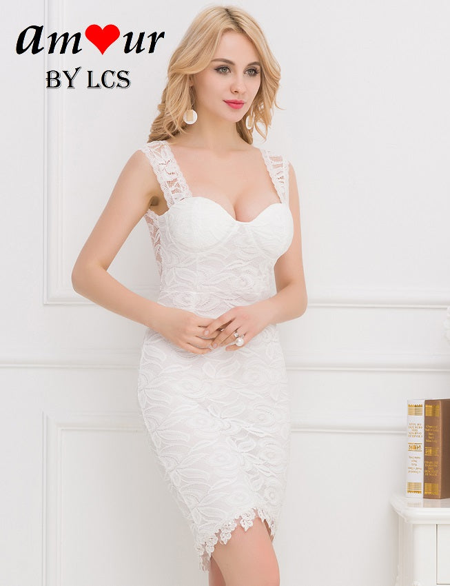 white lace slim-fit dress