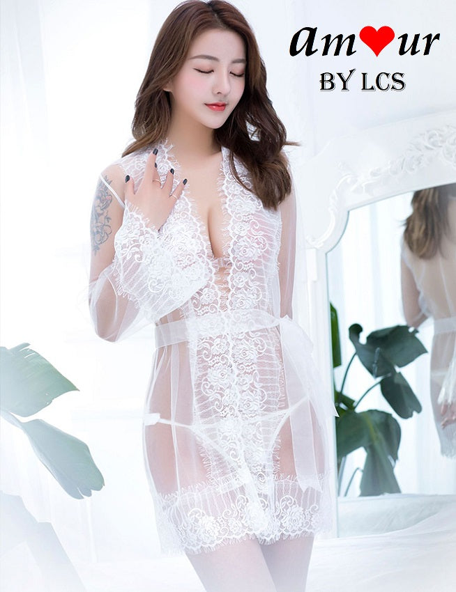 [white organza lace robe lingerie]- AMOUR Lingerie
