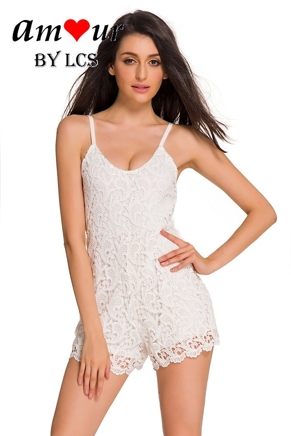 [sexy white lace romper] - AMOUR Lingerie