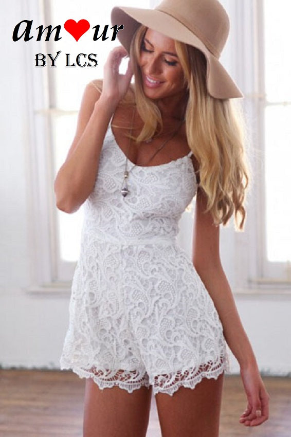 [frilly white lace romper] - AMOUR Lingerie