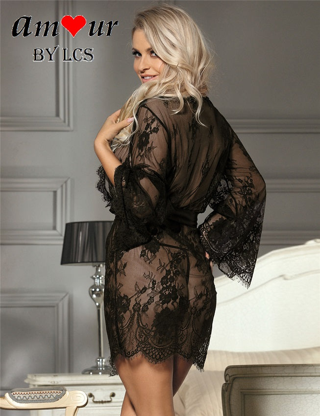 [black lace sheer lace robe] - AMOUR Lingerie