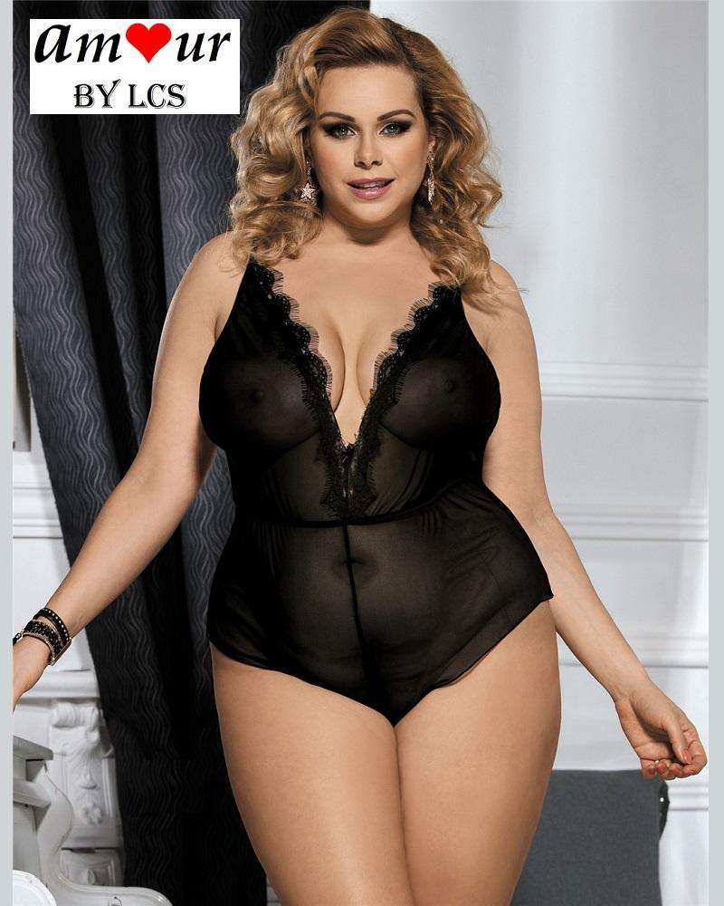 [sexy plus size chiffon teddy] - AMOUR Lingerie