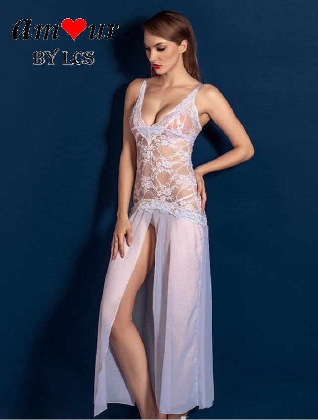 White Spag Strap Sheer Lace Steamy Dress Gown