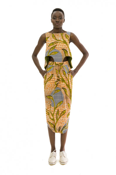 Cape Toga Dress by Bestow Elan made from Ankara and available on Ichyulu