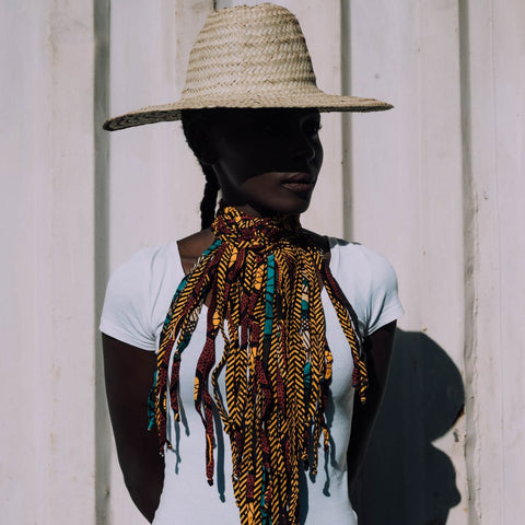 White Tee Series for Ichyulu featuring Nkwo Fringe Necklace