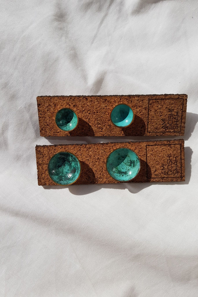 Patinated Brass Stud Earrings by Ami Doshi Shah for Ichyulu