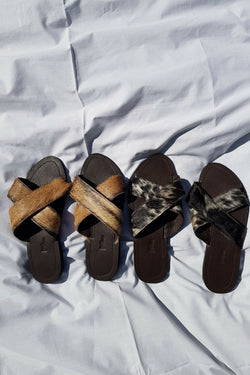 Hair On Cross Sandals