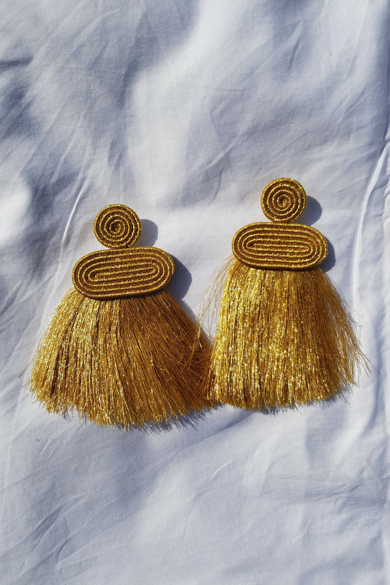 Gold Kobwa Tassel Earrings