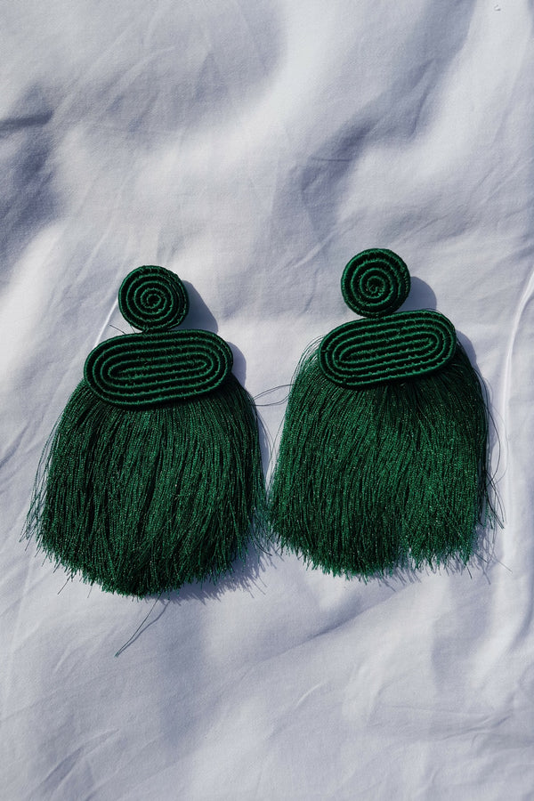 Green Kobwa Tassel Earrings