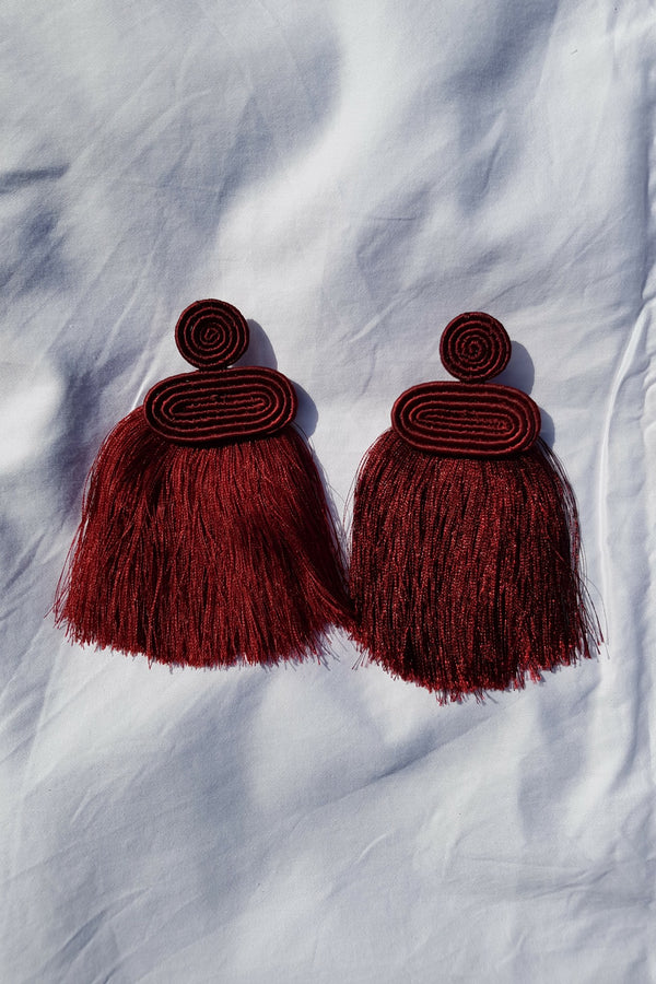Maroon Kobwa Tassel Earrings