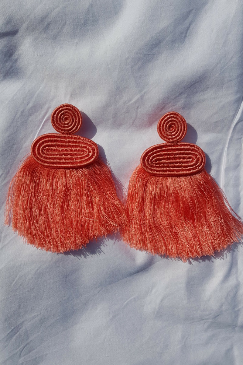 Pink Kobwa Tassel Earrings