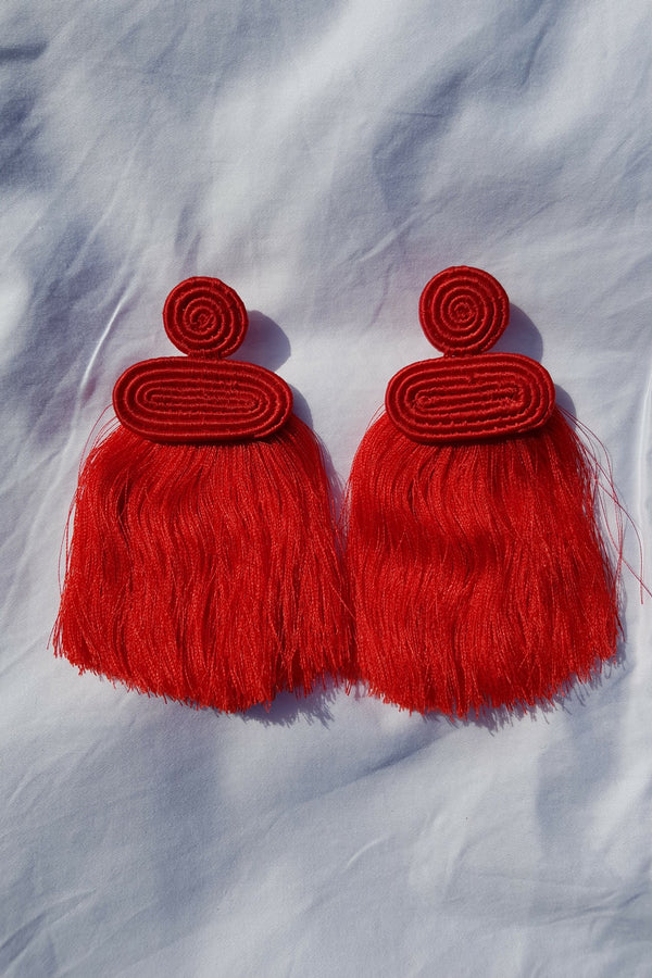 Red Kobwa Tassel Earrings