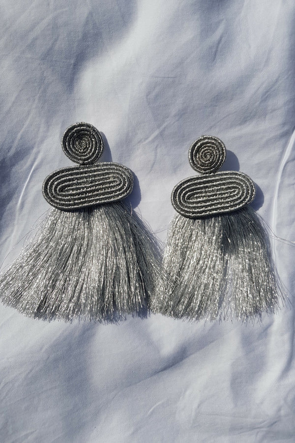 Silver Kobwa Tassel Earrings
