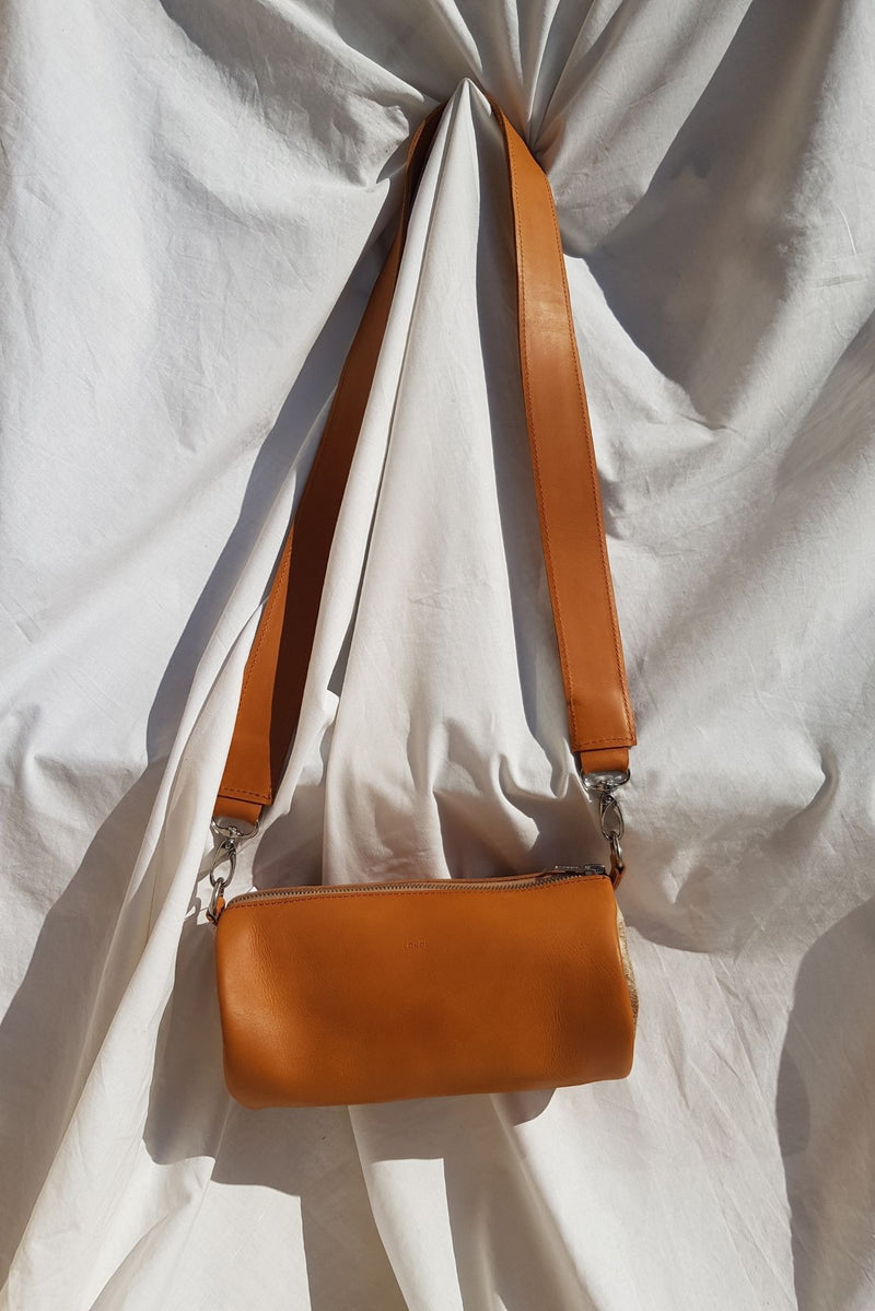 Lokol Barrel Bag Tan Leather with Hair On for Ichyulu