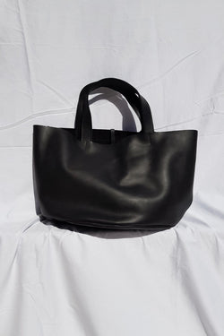 Half Moon Market Tote Black Leather Made in Kenya