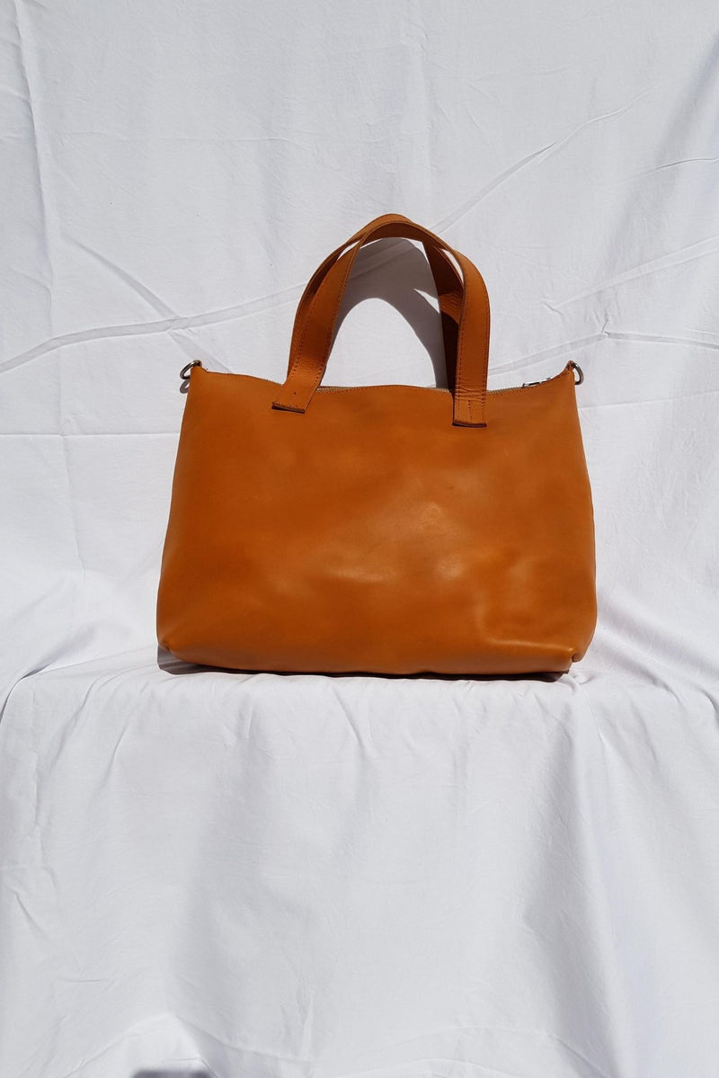 Tan Leather Zipper Tote Bag Made in Kenya