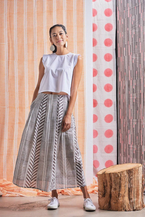 Maisha Concept Grey Chaand Skirt made from hand blocked printed fabric by artisans