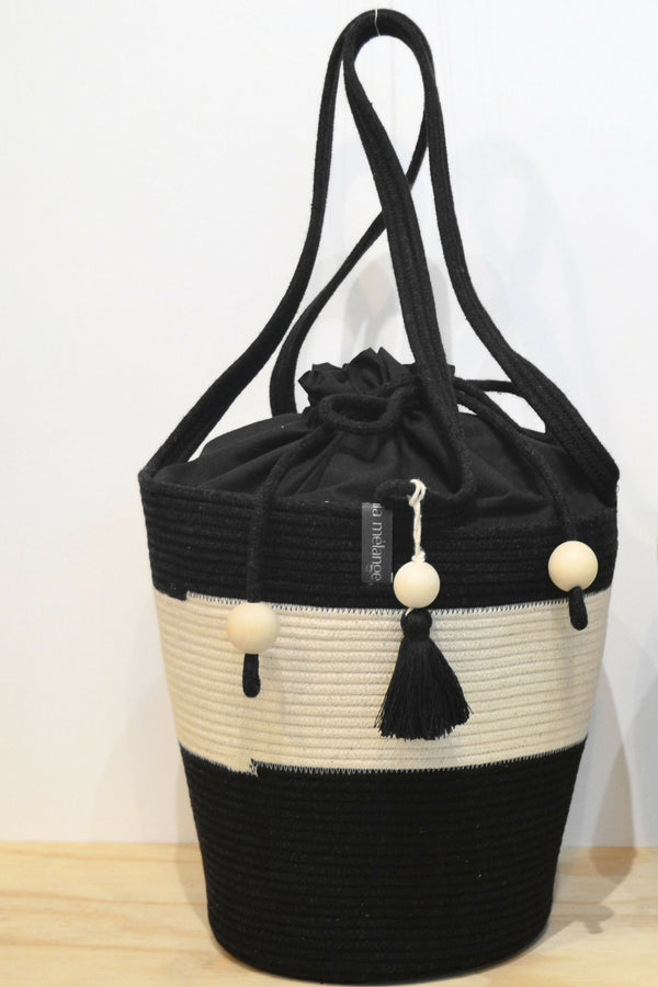Black & Ivory Pull String Tote