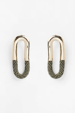 Cantadora Oval Brass and Rope Earrings for Ichyulu