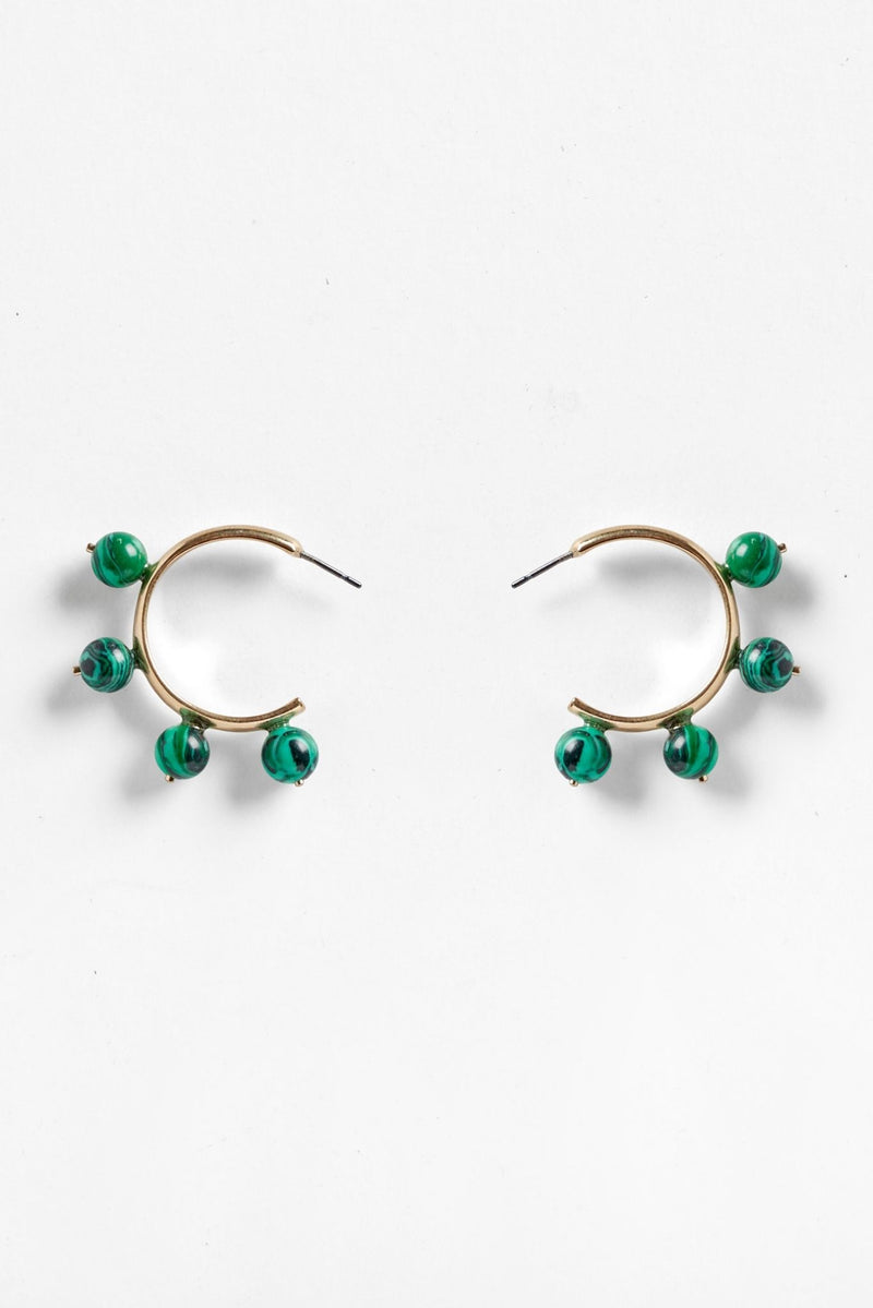 Malachite Hoop Earrings for Ichyulu