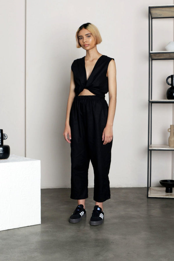 Black Sleeveless Wrap Jumpsuit