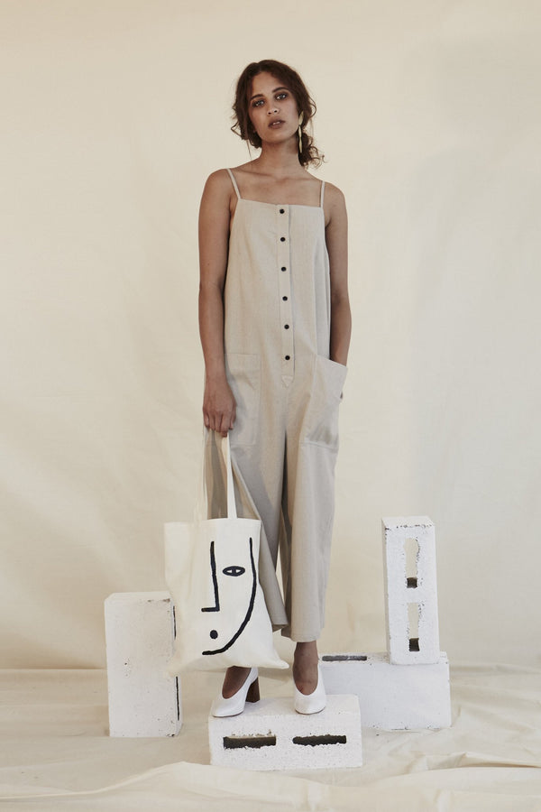Stone Button Down Jumpsuit