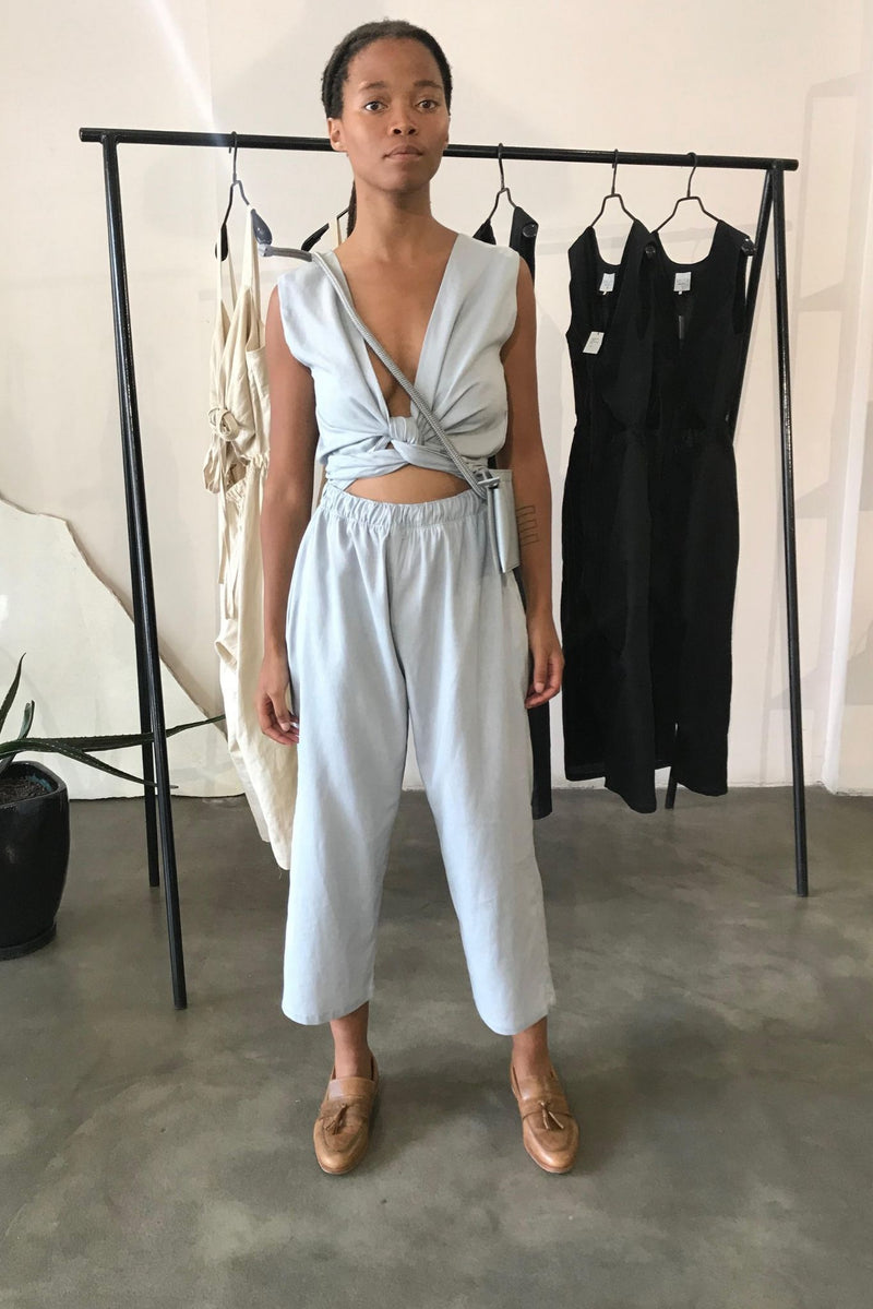 Light Blue Sleeveless Wrap Jumpsuit