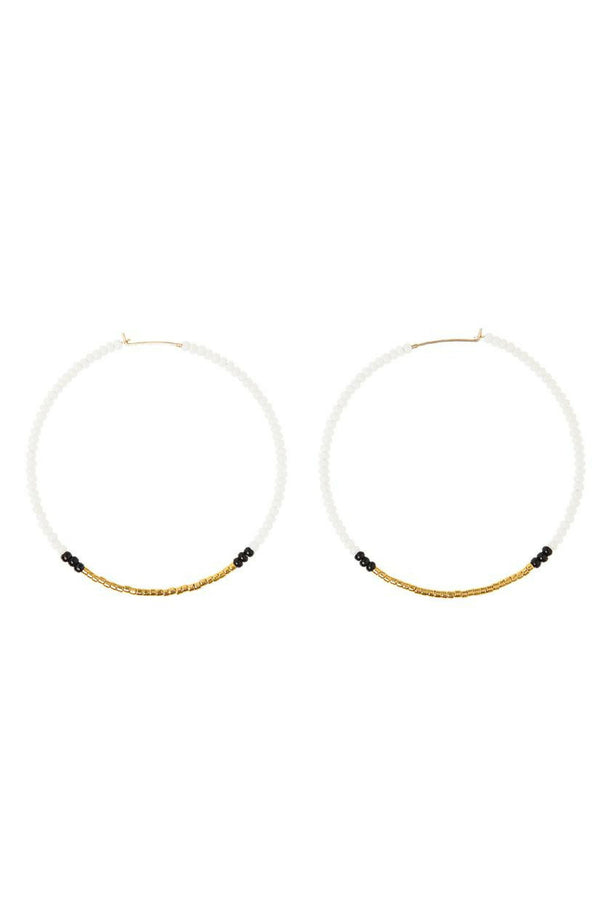 Large beaded hoop earrings handmade in Tanzania by Sidai Designs