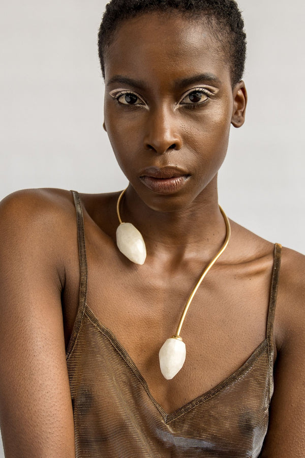 Ami Doshi Shah Quartz Torque Necklace Made in Kenya